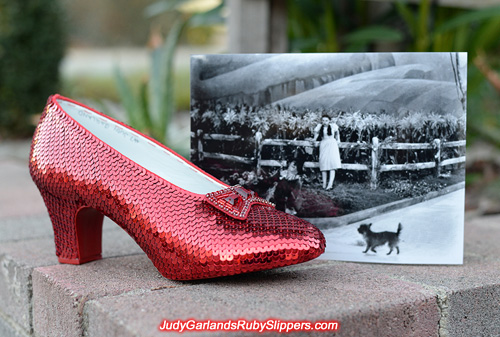 The right shoe of Judy Garland's ruby slippers is finished