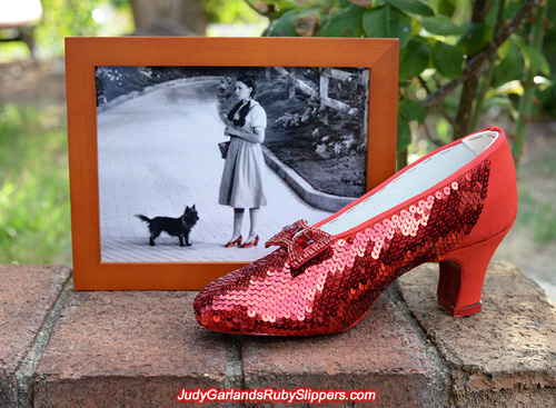 The right shoe of Judy Garland's ruby slippers is taking shape
