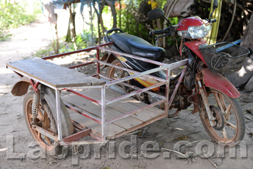 Three-wheeled motorbike in Laos