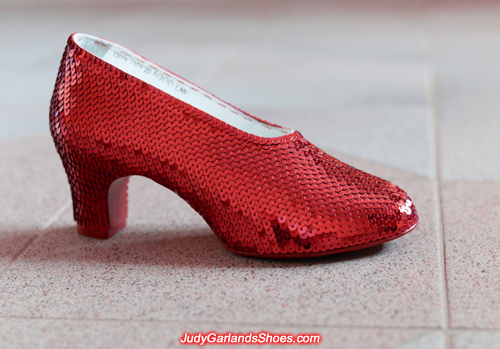 2,300 sequins covers the right shoe of Judy Garland's ruby slippers