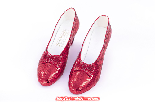 A-grade hand-sewn ruby slippers in Judy Garland's size 5B