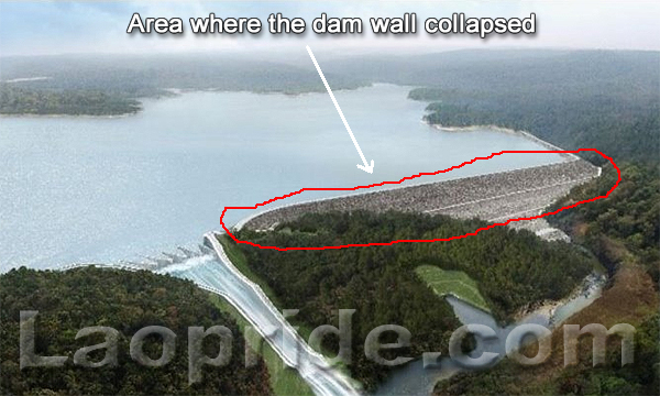 Area where the dam wall collapsed