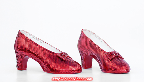 Beautiful hand-sewn ruby slippers crafted in size 5B