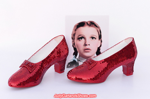 Beautiful hand-sewn ruby slippers in size 7