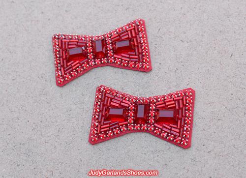 Beautiful pair of hand-sewn ruby slipper bows