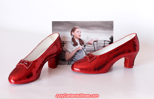 Completed women's size 8.5 hand-sewn ruby slippers