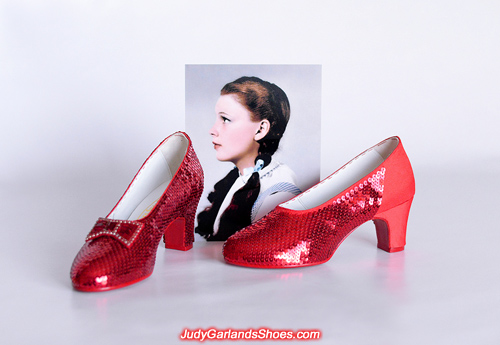 Crafting Dorothy's hand-sewn ruby slippers