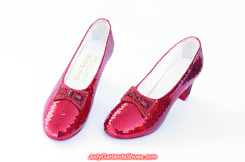 Dorothy's hand-sewn ruby slippers crafted in May, 2019