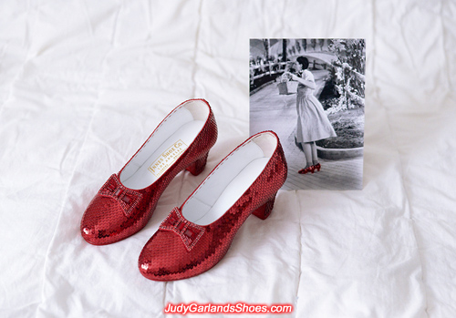 Dorothy's wearable size 5B hand-sewn ruby slippers
