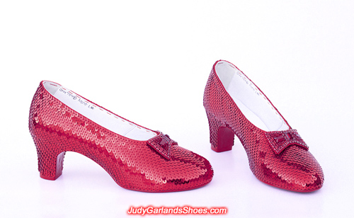 Exquisite hand-sewn ruby slippers crafted in April, 2019
