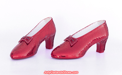 Exquisite hand-sewn ruby slippers in Judy Garland's size 5B