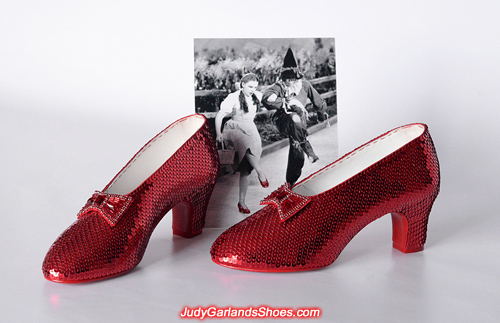 Exquisite pair of hand-sewn ruby slippers