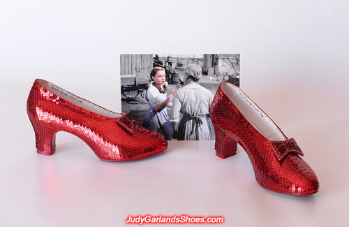Finished pair of hand-sewn ruby slippers