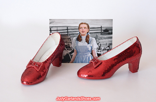 Finished pair of size 5B hand-sewn ruby slippers