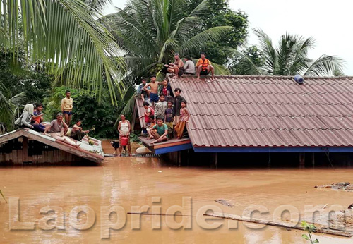 Flooding in Attapeu province caused by the collapse of dam