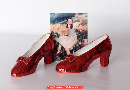 Hand-sewn ruby slippers crafted in August, 2018