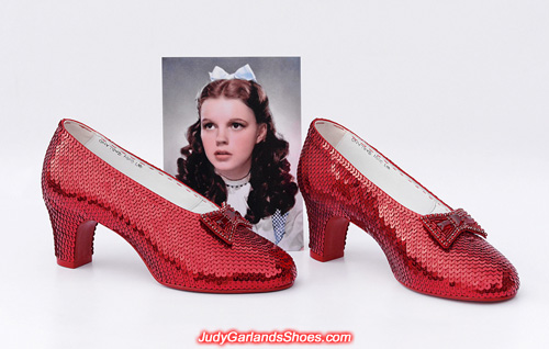 Hand-sewn ruby slippers crafted in January, 2019