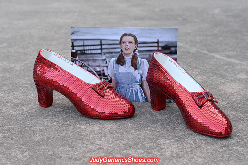 Hand-sewn ruby slippers crafted in June, 2018
