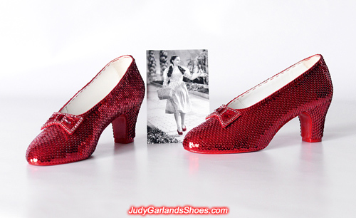 Hand-sewn ruby slippers crafted in September, 2018