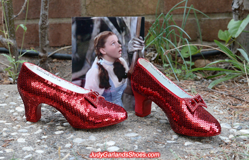 Hard at work sequining Judy Garland's ruby slippers