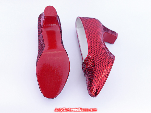 High quality hand-sewn ruby slippers in size 7