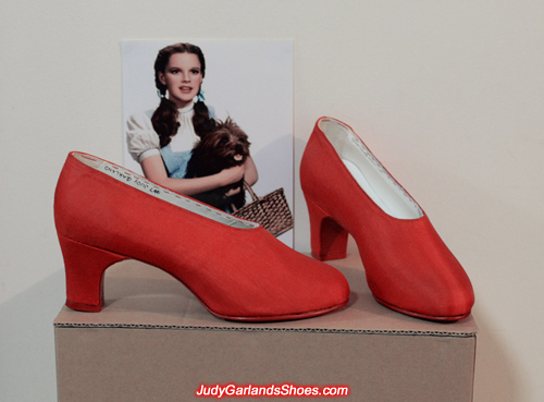 Judy Garland's beautiful red silk size 5B shoes
