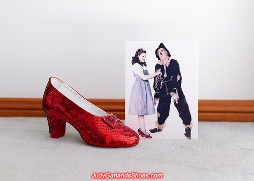 Judy Garland's size 5B right shoe is sequined