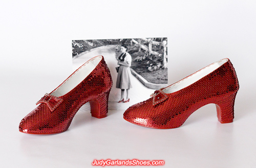 Masterpiece pair of hand-sewn ruby slippers