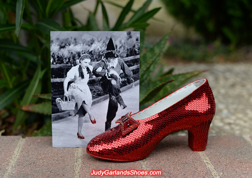 Outstanding work with the right shoe of Judy Garland's ruby slippers