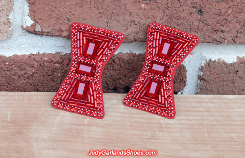 Pair of hand-sewn bows for wedding ruby slippers
