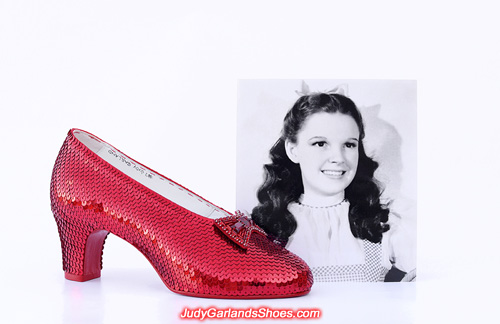 Sequining completed on Judy Garland's right shoe