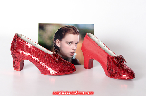 Sequining in progess with the left shoe of Judy Garland's ruby slippers