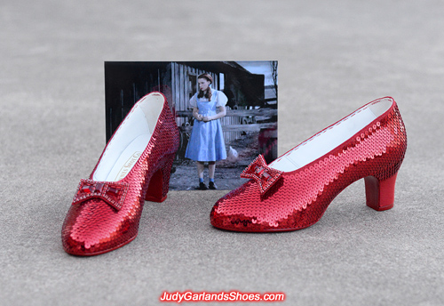 Sequining is in progress with Judy Garland's ruby slippers