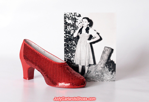 Sequining is underway on the right shoe of Judy Garland's ruby slippers