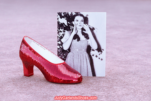Sequining Judy Garland as Dorothy's right shoe
