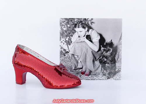 Sequining the right shoe of Judy Garland's ruby slippers