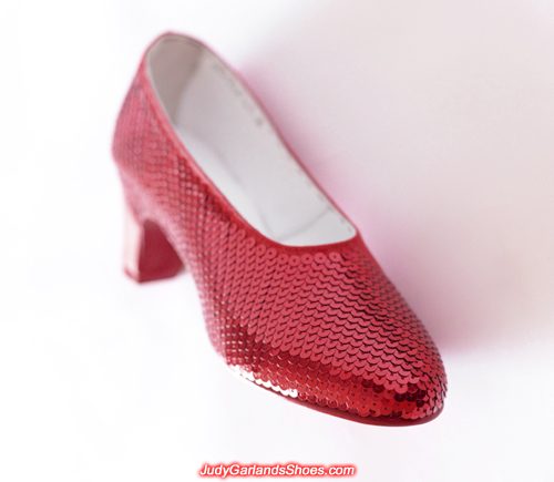 Sequining to perfection on the right shoe