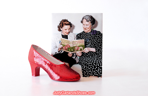 Sequining work with Judy Garland's ruby slippers