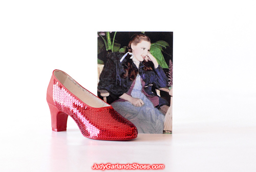 Sewing sequins by hand on Judy Garland's right shoe