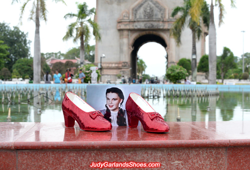 Size 5B hand-sewn ruby slippers at the Patuxai Monument