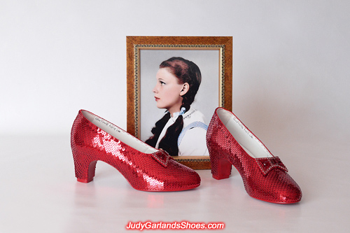 Size 5B hand-sewn ruby slippers finished for a VIP