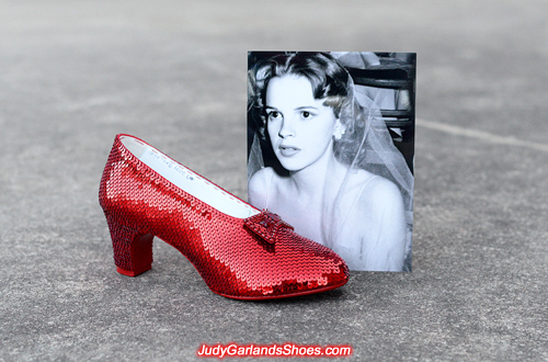 The right shoe is finished for size 7 ruby slippers