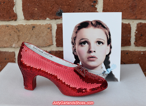 The right shoe is finished on Judy Garland's ruby slippers