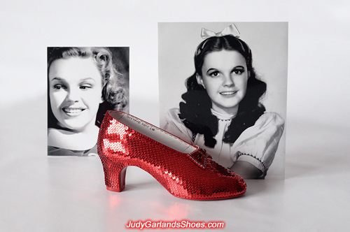 The sequined right shoe of Judy Garland's ruby slippers