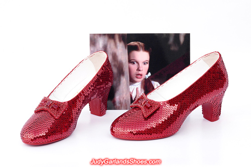 Wearable size 5B hand-sewn ruby slippers crafted in April, 2019