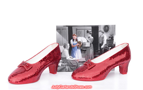 Wedding hand-sewn ruby slippers in women's size 10