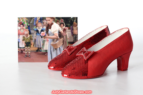 Work is in progress on this exquisite pair of ruby slippers