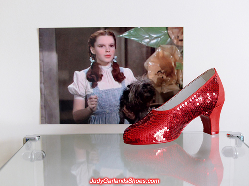 Working on Dorothy's sparkling right shoe