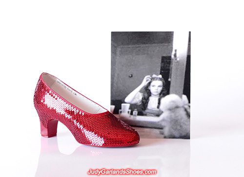 Sequining Judy Garland's right shoe
