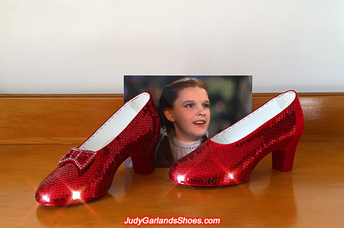 Sequining size 5B hand-sewn ruby slippers